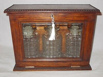 Antique Edwardian Oak Glass Fronted Decanter Box Cabinet Tantalus