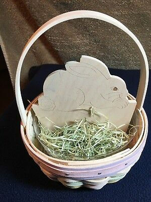 Longaberger 2001  Small Whitewashed Easter Basket  with Bunny Insert - New