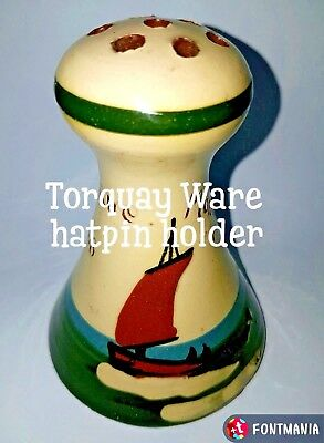Old Hatpin Holder*longpark Torquay Ware*margate With Sailing Boat Decoration