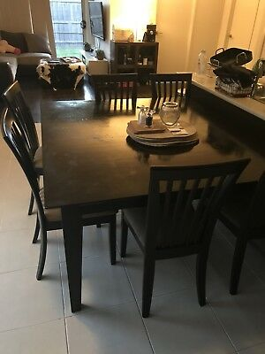Dark Brown Square Table And 8 Chairs