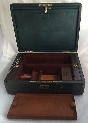 Antique Lund Of Cornhill Leather & Wood Gentlemen'S Box With Writing Slope