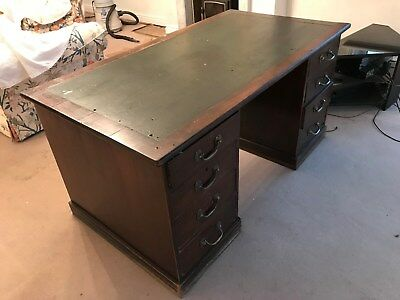 Very Useful George V Mahogany Pedestal Desk with Linoleum Writing Surface
