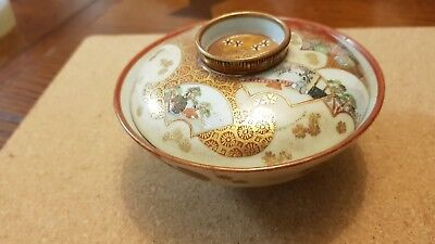 Antique Japanese satsuma bowl and cover delicately painted
