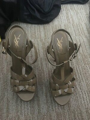 Pre-owned YSL Tribute platform sandal in beige patent leather in size 37.5