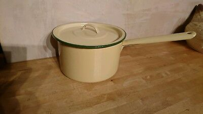 Vintage Country Cream And Green Judge Ware Enamel Sauce Pan With Lid