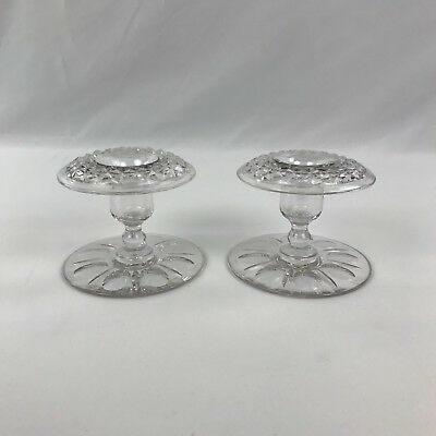 Vintage Pair Clear Pressed Glass Pedestal Candle Holders For Tapers Round Bases