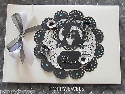 Personalised Gothic Handmade  Black/white Wedding Party Photo Guest Book