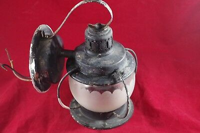 Vintage Cage Copper Porch Sconce Light Fixture Frosted Glass Bail