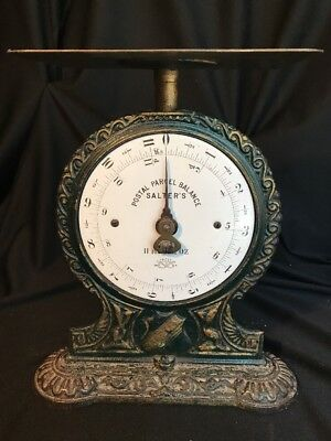 Antique Victorian SALTER'S Brass Plate & Ornate Iron Postal Scale 11 lb 1900's