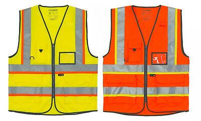 Executive Hi Vis Viz Vest High Visibility Work Waistcoat Reflective Safety Top
