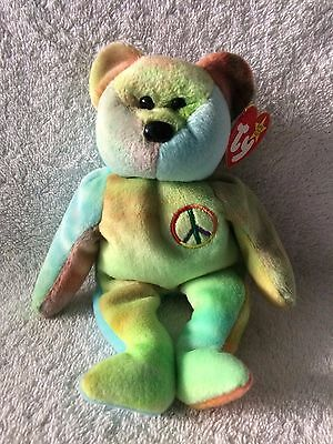 """TY Beanie Baby """"PEACE"""" The Tye-Dye Bear 1996 All Tags Attached!  RETIRED & NEW!"""
