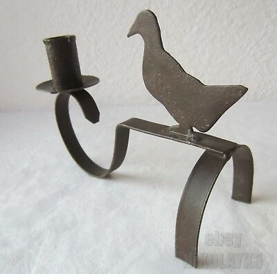 ANTIQUE primitive iron candle holder stand with duck, bird - folk art .... /3/