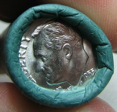 1955 P Obw Original Bank Wrapped Roll Bu Uncirculated Silver Roosevelt Dimes