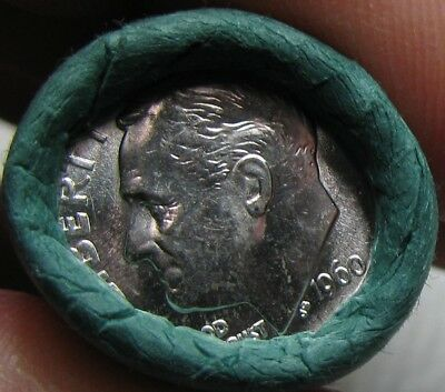 1960 P Obw Original Bank Wrapped Roll Bu Uncirculated Silver Roosevelt Dimes
