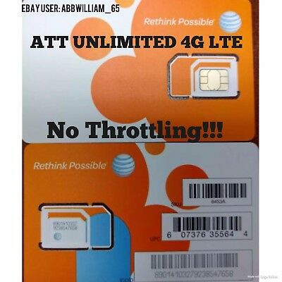 ATT Unlimited 4G LTE Data!! Works with hotspot or tablet!!! $29.99 per month!!!