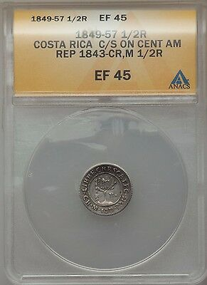 1849-57 1/2R Costa Rica C/S on Cent. Amer. Rep 1843-CR  ANACS EF45! New Price!