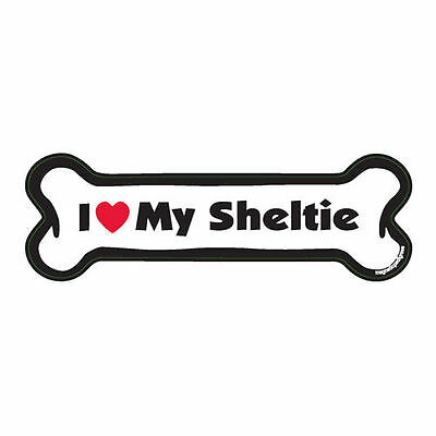 I Love My Sheltie Dog Bone Car Magnet