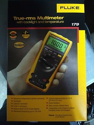 New! Fluke 179 True RMS Multimeter with Backlight and Temp - Fast Shipping!