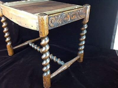 Antique Barley Twist Leg Small Bench / Stool BEAUTIFUL SIDE CARVING
