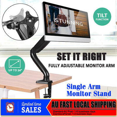 Single HD LED Desk Mount Monitor Stand Bracket 1 Arm Holds LCD Screen TV Display
