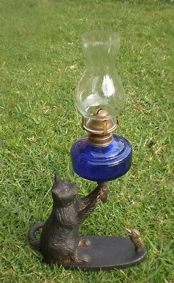 Collectable Lithgow Pussy Cat And Kookaburra Kerosene Blue Lamp.