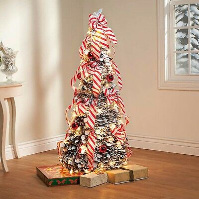 4 Ft Fully Decorated Candy Cane Pre Lit Pull Up Pop Up Christmas