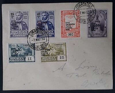 SCARCE 1938 Portugal Cover ties 6 stamps with Red Cross 1936 O/Ps canc Lisbon