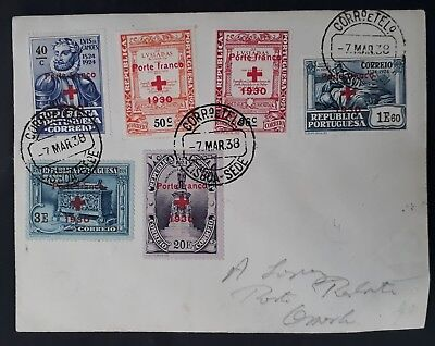 SCARCE 1938 Portugal Cover ties 6 stamps with Red Cross 1930 O/Ps canc Lisbon