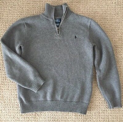 $65 Boys Polo Ralph Lauren Sweater Gray Size L / 10 Mock Neck 1/4 Zip