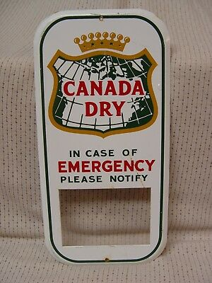 Canada Dry Soda Emergency Information Promo Advertising Sign To Hang By Phone
