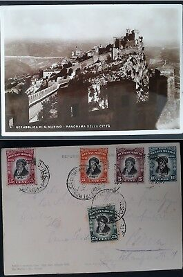 "RARE 1937 San Marino Postcard ""City View"" ties 5x Cent of Delfico stamps to Bern"
