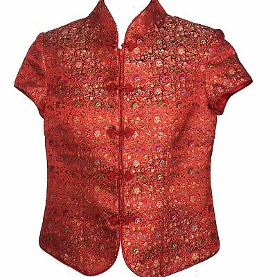 Ling Yuu Chinese Style Top Jacket Sz Medium Short Sleeve Red Medallion Costume