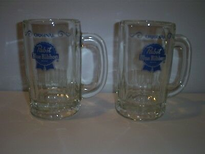 2 Vintage Original Pabst Blue Ribbon Beer Mug Stein Weighs 1  Pound 7 Ounces Eac