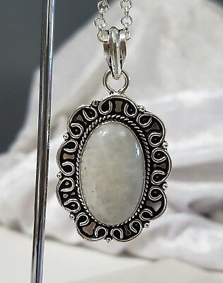 925 Sterling Silver Overlaid Moonstone Pendant with Chain