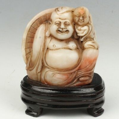 Chinese Exquisite Hand-carved Buddha carving Shoushan Stone seal statue