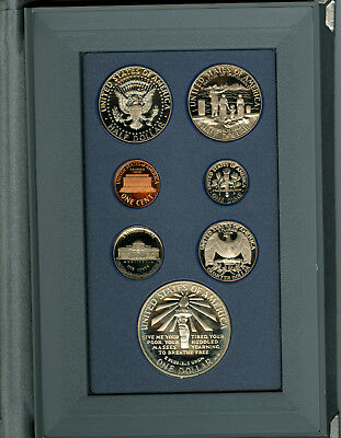 U S MINT 1986  LIBERTY PRESTIGE SET with SILVER DOLLAR, 7 1986 PROOF COINS