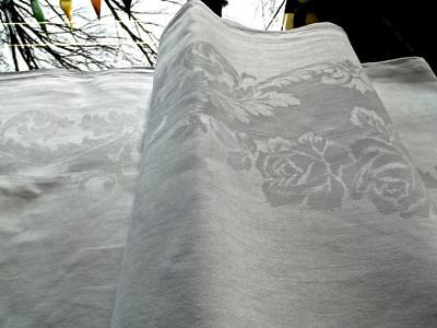 Vintage White Irish Linen 72x86 Formal Tablecloth Damask Roses Acanthus Leaves