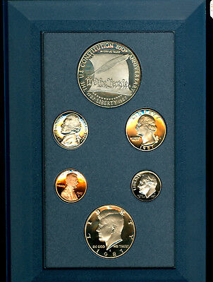 U S MINT 1987  CONSTITUTION PRESTIGE SET with SILVER DOLLAR, 6 1987 PROOF COINS