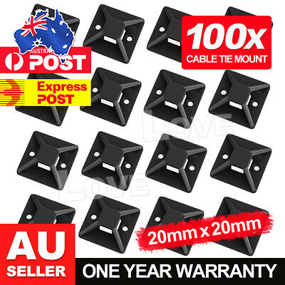 100pcs Self Adhesive Cable Wire Zip Tie Mounts Base Clamps Clip Black 20*20MM