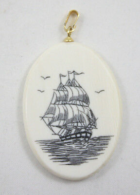 Vtg Etched Tall Ship Faux Scrimshaw Oval Pendant