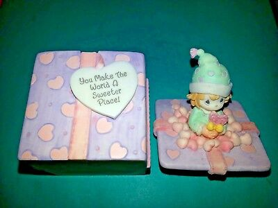 Precious Moments 1999 TRINKET GIFT BOX - YOU MAKE THE WORLD A SWEETER PLACE