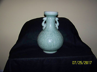 """""""Large"""" Chinese Qing Dy Hand Carved Lotus Flower Pheonix Handle Celdon Vase"""