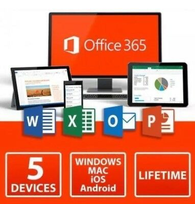 New Microsoft Office 365 Home Subscription 5 Users Mac PC Mobile