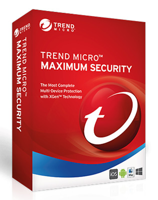 Trend Micro Maximum Security  2 Devices 12 months Licence MAC Windows 2018