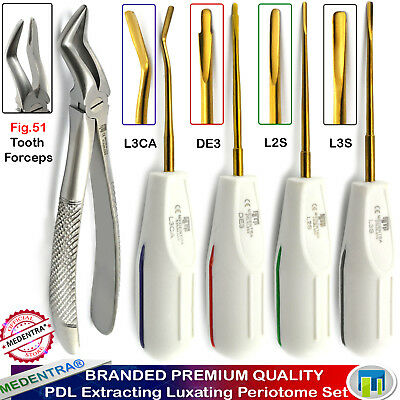 5Pcs Dental Luxating Periotomes Pdl Broken Root Extracting Tooth Forceps Fig.51