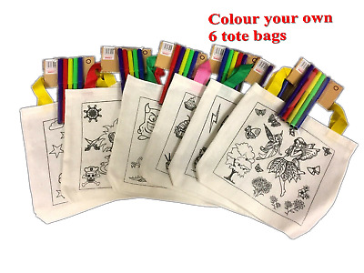 BULK 6 Kids Colour In Your Own Tote Bag With Marker Textas 21cm x 21cm Assorted