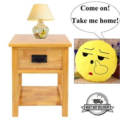 Night Stand Solid Oak Bedside Side Table Wood Cabinet Storage+ Free Emoji Pillow