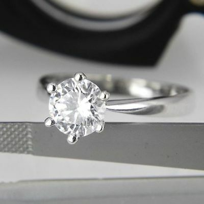 Certified 2.17 ct VVS1/D Round Diamond Solitaire Engagement Ring 14K White Gold