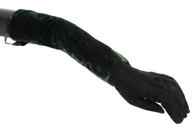 Dolce & Gabbana Green Black Leopard Leather Elbow Gloves Guanti Donna 7,5-S