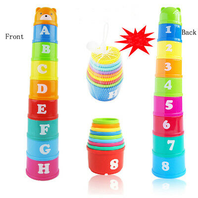 Fun Baby Kids 1 Set Educational Toy Figures Letters Folding Colorful Cup Pagoda